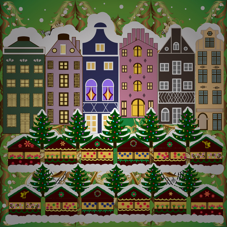 Christmas winter scene. Evening village winter landscape with snow cove green and brown houses. Background. Vector illustration. Ilustração
