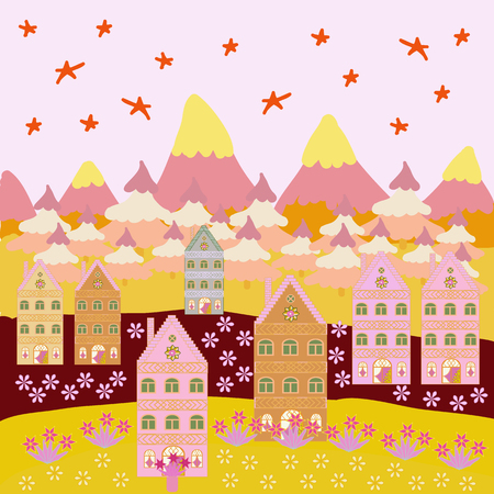 Vector illustration. Christmas village of Santa Claus. Fairy houses on neutral, yellow and beige colors. Panorama.