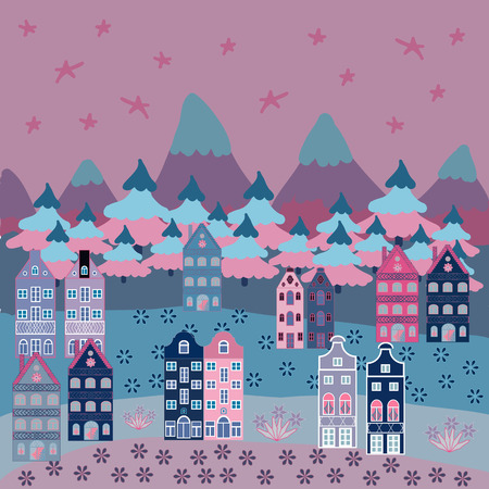 Illustration on neutral, blue and pink colors. Vector illustration. Pattern houses.