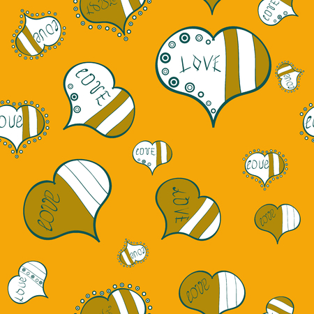 Textile graphic t shirt print on yellow, white and green colors. Vector illustration. Design. Seamless All you need is love quote with hearts.
