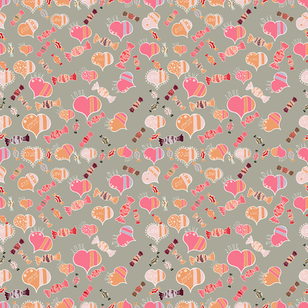 Cute hearts love on gray, pink and orange colors on nice background. Vector illustration. Seamless Sixties style mod pop art psychedelic colorful Love text design.