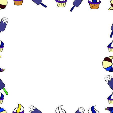 Seamless pattern. Vector Background seamless pattern with hand drawn Frame doodle. Doodles frame consists of white, yellow and violet border.