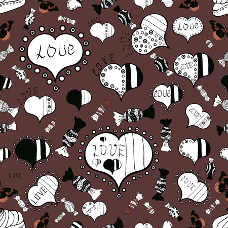 Brown, white and black Vector illustration. Seamless Love fabric pattern for background. Illusztráció