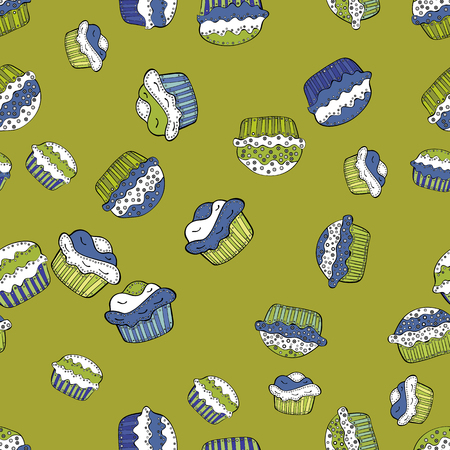 Seamless with hand drawn doodle desserts: cupcakes, cake, pie, muffins. Nice birthday background on yellow, white and green. Vector illustration.