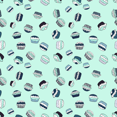 Vector illustration. Seamless pattern with hand drawn delicious cupcakes on neutral, white and gray. Beautiful food design elements, perfect for prints and patterns.