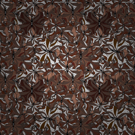 Picture on brown, white and black colors. Seamless pattern of colorful butterfly on a brown, white and black background. Scribble, sketch, doodle. Vector.