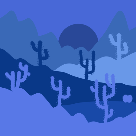 Deserts and Sand Dunes Landscape at Sunrise. Vector illustration. Landscape on blue and violet colors. Composition.