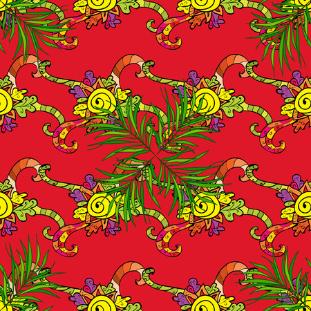 Seamless pattern with abstract ornament. Vector Hand drawn  floral red, green and black colors.