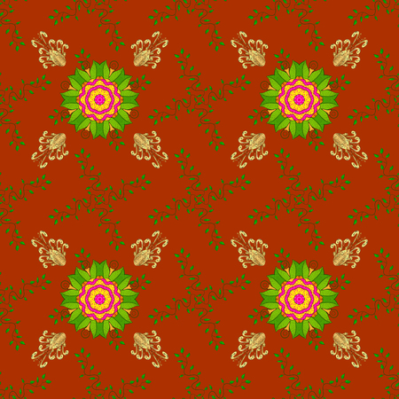 Stylish fabric pattern. Seamless Doodles orange, green and yellow on colors. Vintage. Vector.