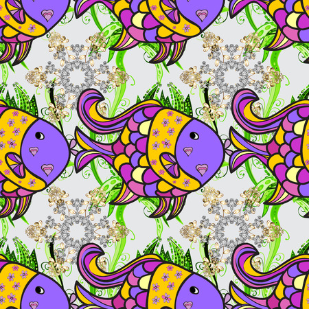 Vector fishes on gray, violet and yellow. Seamless. Funny cartoon colorful fishes.