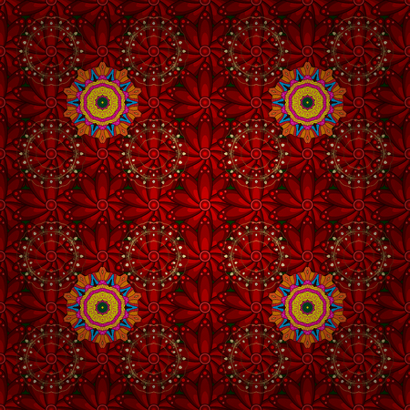 Oriental pattern. Vintage vector decorative elements. Colored Mandalas on red, brown and orange colors. Islam, Arabic, Indian, turkish, pakistan, chinese, ottoman motifs.