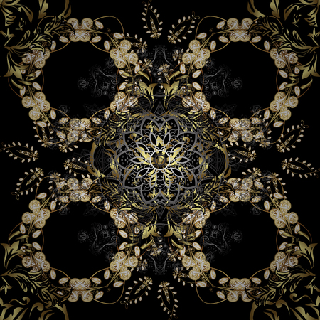 Seamless classic golden pattern. Vector traditional orient ornament. Golden pattern on black, gray and brown colors with golden elements.