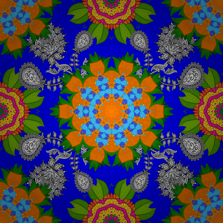 Blue, green and orange on colors. It can be used on sketch, mug prints, baby apparels, wrapping boxes etc. Nice background. Vector - stock. Seamless Beautiful fabric pattern. Doodles cute pattern. Stock Illustratie