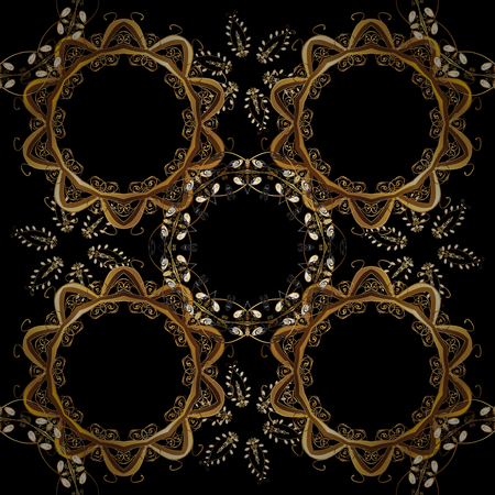 Seamless oriental ornament in the style of baroque. Golden pattern on black, brown and beige colors with golden elements. Traditional classic golden pattern. Vector oriental ornament. Illustration