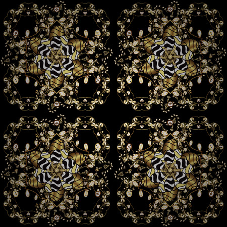 Vector oriental ornament. Golden pattern on black, yellow and brown colors with golden elements. Seamless golden pattern.