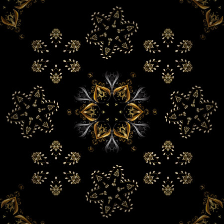Damask background. Golden floral seamless pattern. Golden element on a black, brown and gray colors. Gold floral ornament in baroque style.