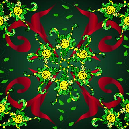 Ornament green, blue and red colored card with mandala. Geometric circle vector element. Kaleidoscope, medallion, yoga, india, arabic. Tribal, Boho, Bohemian style. 向量圖像