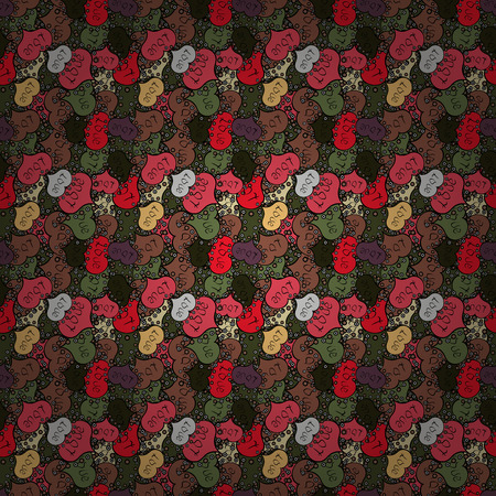 Happy Valentines day. Seamless pattern with realistic beautiful black, brown and green heart. Vector illustration. Love and Holiday theme.