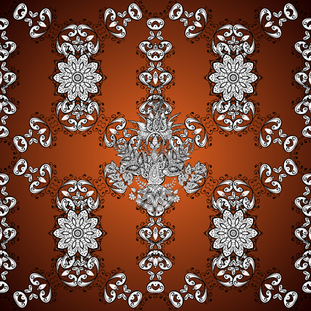 Vector floral wedding decorative elements. Seamless pattern mehndi floral lace of buta decoration items on brown, white and black colors.
