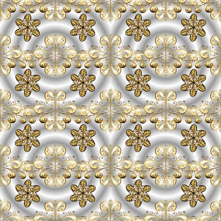 Vector illustration. Oriental vector classic gray, neutral and beige and golden pattern. Ornamenta abstract background.