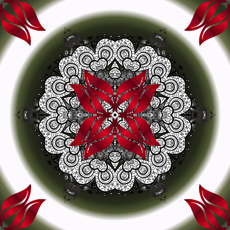Ornamental pattern with abstract ornament. Vector Hand drawn floral neutral, gray and red colors.