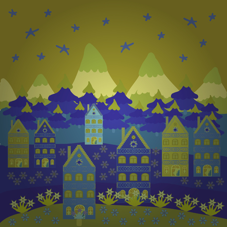 Merry christmas card with house. Cute buildings on yellow, blue and green colors. Vector illustration. Happy new year.