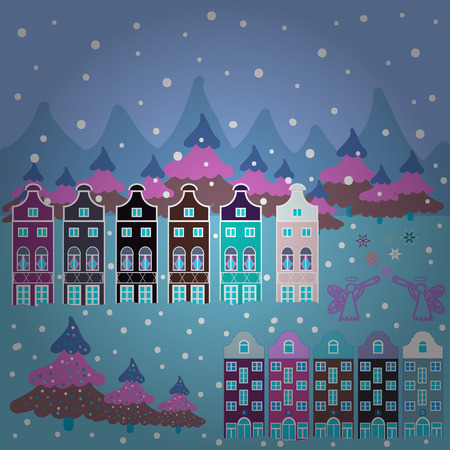 Unusual christmas illustration. Postcard on blue, white and violet colors. Amazing fairy house decorated at christmas style. Landscape in magical forest. Vector illustration.
