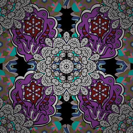 Mandala style. Vector illustration. Rich ethnic striped seamless pattern geometric design. Colored mandala on black, white and violet colors. Illustration