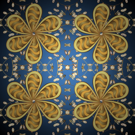 Damask ornamental pattern for design. Vector ornamental pattern on blue, yellow and brown colors with golden elements. Иллюстрация