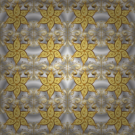 Elegant vector classic pattern. Ornamenta abstract background with repeating elements. Gray, yellow and brown and golden pattern. Illustration