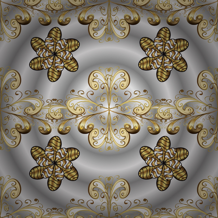 Vector ornamenta pattern on gray, neutral and beige colors with golden elements. Damask ornamenta pattern for design.