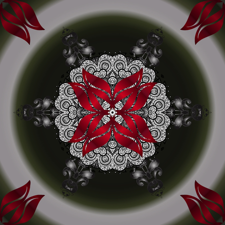 Mandala vector floral flower oriental coloring book page outline template carpet. Ornamental pattern with flowers. Gray, neutral and red colors. Иллюстрация