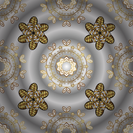 Floral ornament brocade textile pattern, glass, metal with floral pattern on gray, neutral and brown colors with golden elements. Classic vector golden ornamenta pattern.