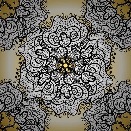 Rich ethnic striped ornamental pattern geometric design. Mandala style. Colored mandala on white, black and beige colors. Vector illustration.