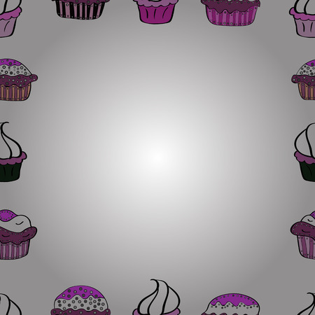 Vector illustration. Seamless pattern.Hand drawn doodle frames. Illustration in white, black and purple colors.