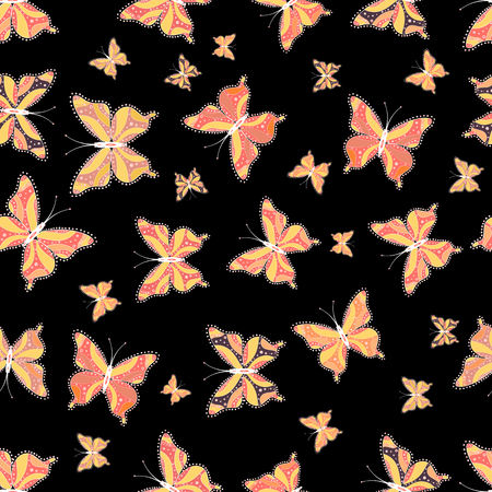 Background. In simple style. Vector illustration. Abstract cute butterfly on black, yellow and pink colors.
