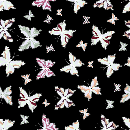 Background for Fabric, Textile, Print and Invitation. Beauty in Nature. Seamless pattern with Flying Butterflies in Watercolor Style. Vector illustration.