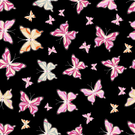 Seamless background of colorful butterflies. Cute butterflies on beige, black and pink. Nice background for wrappers and sketch, design of fabric, paper. Vector illustration.