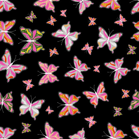 Vector illustration. Cute girly seamless pattern drawn by hand. Sketch, doodle, scribble. Repeated butterflies. Endless.