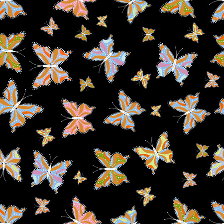 Illustration on black, orange and blue background. Vector. Seamless. Butterflies pattern. Pattern for fabric, textile, print and invitation.