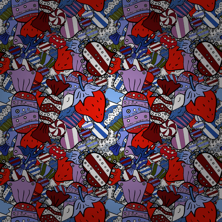 Vector illustration. Seamless pattern of sweet candy on blue, red and black colors. Illustration