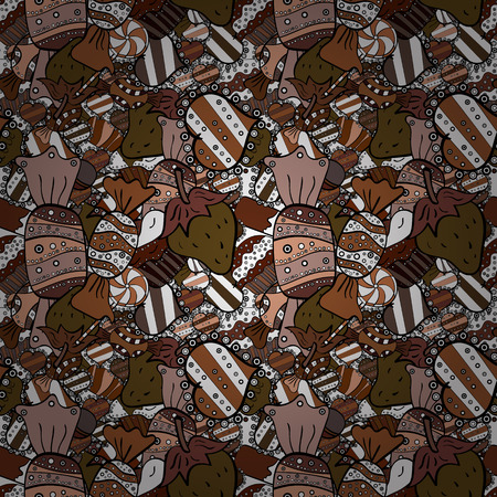 Quirky, abstract hand drawn seamless vector candy pattern. Colorful, retro hand illustrated Halloween treats on a white, brown and black background.