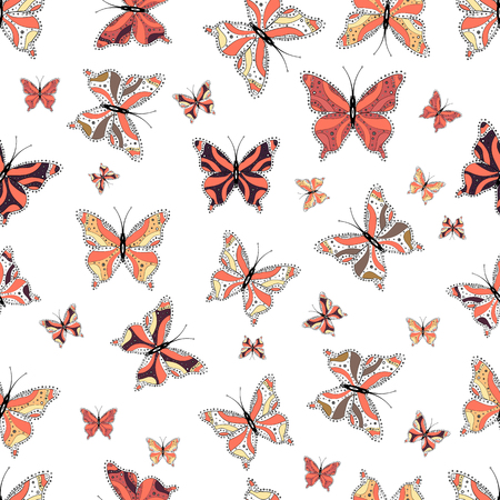 Endless. A seamless background pattern with tender teal in black, orange and white abstract watercolor butterflies. Vector illustration. Repeat print. 矢量图像