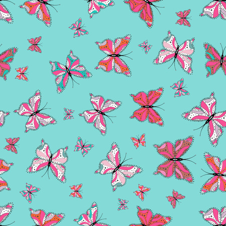 Beautiful seamless butterfly iterative texture isolated on contrast back layer. Vector sketch. Wildlife insect fauna backdrop for cover. Nature butterfly repeat theme in blue, pink and white colors.