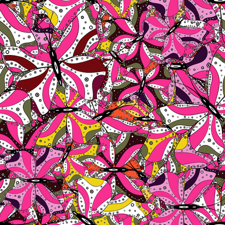 Vector illustration. Seamless background of colorful butterflies. Decor on pink, white and black background for clothing design. 일러스트