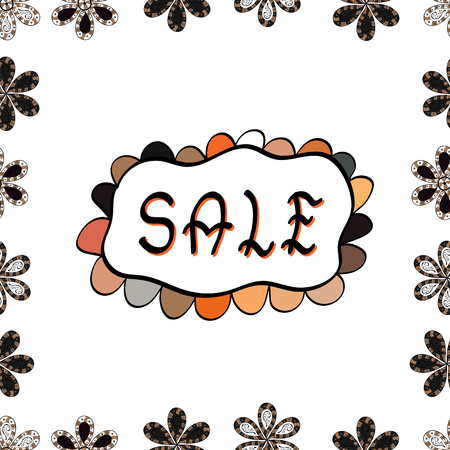 Sale banner template design. Seamless. Picture in white, gray and black colors. Lettering.