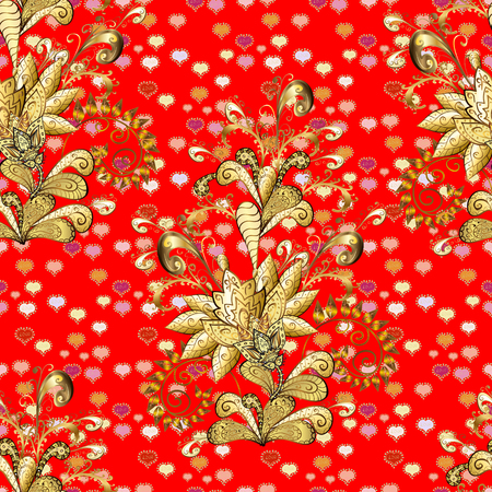 Beige, brown and red colors with golden elements. Seamless golden pattern. Vector golden floral ornament brocade textile and glass pattern. Gold metal with floral pattern.
