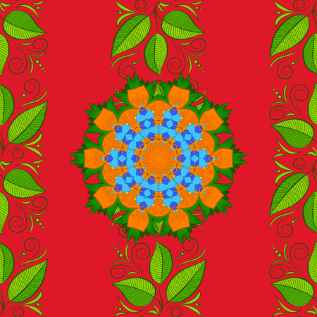 Vector colored design abstract mandala sacred geometry illustration on a orange, green and red colors.  イラスト・ベクター素材