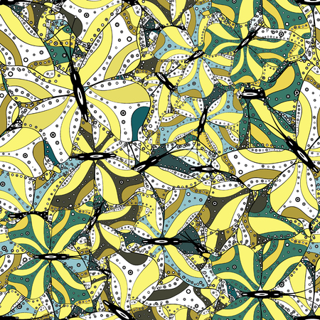Tropical seamless pattern with Exotic Butterflies. Illustration in yellow, white and black colors. Vector. Fashion Fabric Design.