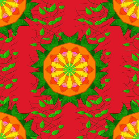 Round ornament with intertwined branches, flowers and curls. Arabesque. Colored Mandala on a green, red and orange baqckground. Vector circular abstract mandalas pattern. Vettoriali